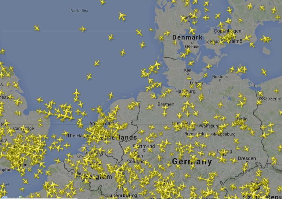 flytrafikken over europa